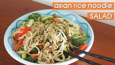 Asian rice noodle salad for a fresh & filling vegan summer meal