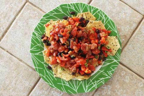 black bean vegan nachos
